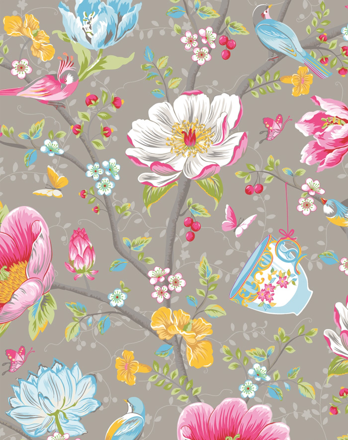 PiP III Behang Eijffinger Chinese Garden Grijs 341004 - BehangSite.com