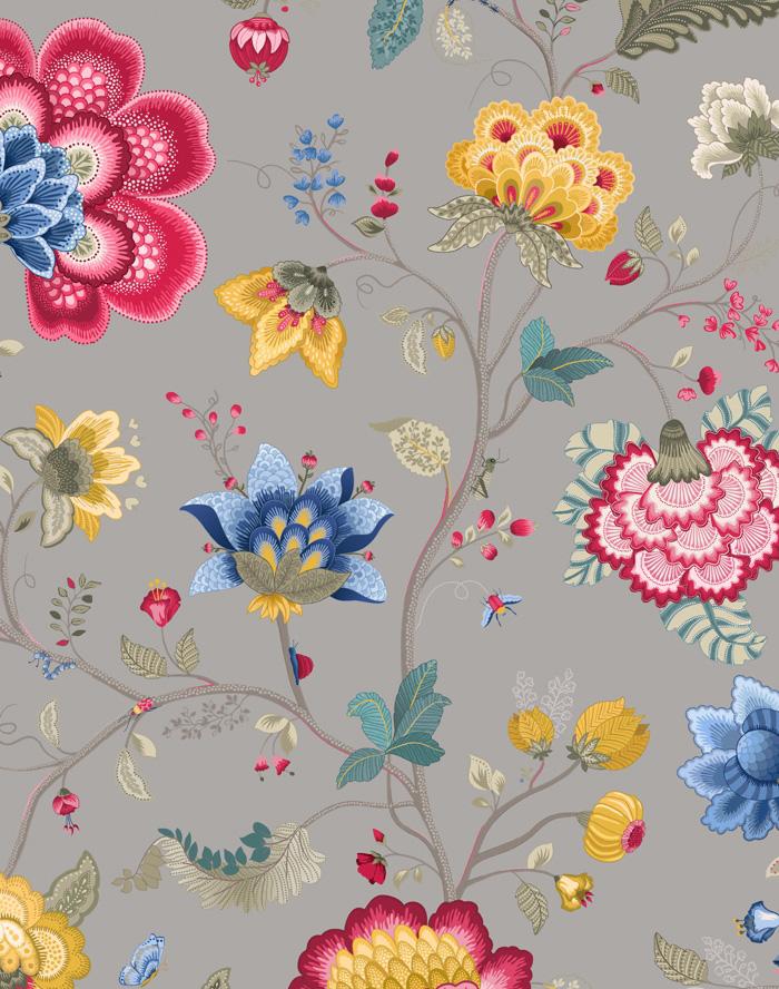 pip iii behang eijffinger floral fantasy grijs 341038. Black Bedroom Furniture Sets. Home Design Ideas