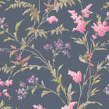 Behang Dutch First Class Enchanted Garden Henrietta navy-roze