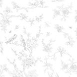 Behang Dutch Wallcoverings KEK Birds en Blossom grijs WP.379