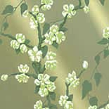 Behang Little Greene Archive Trails Sakura 1936 Metal Lustre