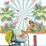 Behang Room Seven Field of Flowers Flamingo Mural Pink 3900130