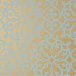 Thibaut Graphic Resource T35176 Aqua on Metallic Gold Behang