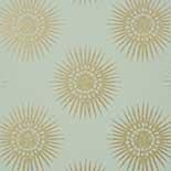 Thibaut Graphic Resource T35144 Metallic Gold on Aqua Behang