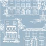 Behang Little Greene 50s Line Papers Hampstead 1949 James Blue