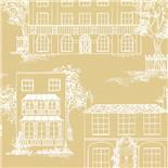Behang Little Greene 50s Line Papers Hampstead 1949 Yellow Apple