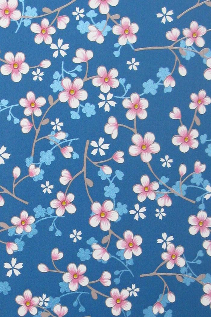 pip behang eijffinger cherry blossom donkerblauw - Donkerblauw Behang