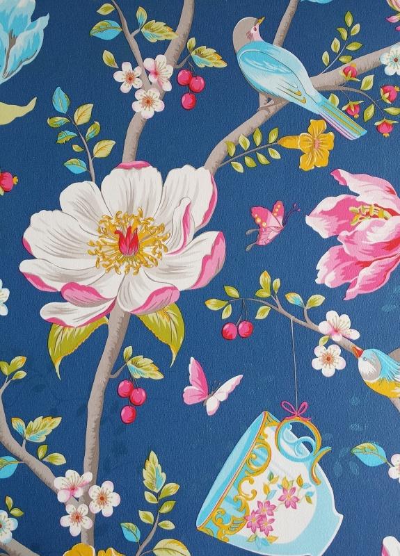 Pip iii behang eijffinger chinese garden donker blauw for Pip probert garden designer