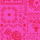 PiP Behang Eijffinger Cross Stitch Rood en Roze 386003